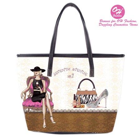 OH Fashion Women Handbag Tote Glamorous Ona PU Leather Barrel Handbag Shoulder Bag Tote Purse Cities Design Travel Bag Adventure Awaits Collection
