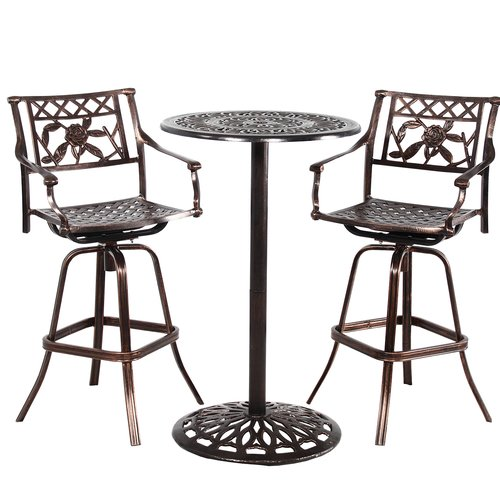 Fleur De Lis Living Thorpe Grace Cast Metal 3 Piece Bar Height Dining Set