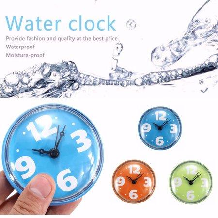 Waterproof Suction Cup Sucker Wall Clock Kitchen Bathroom Bath Shower for Ceramics Mirror Glass ()