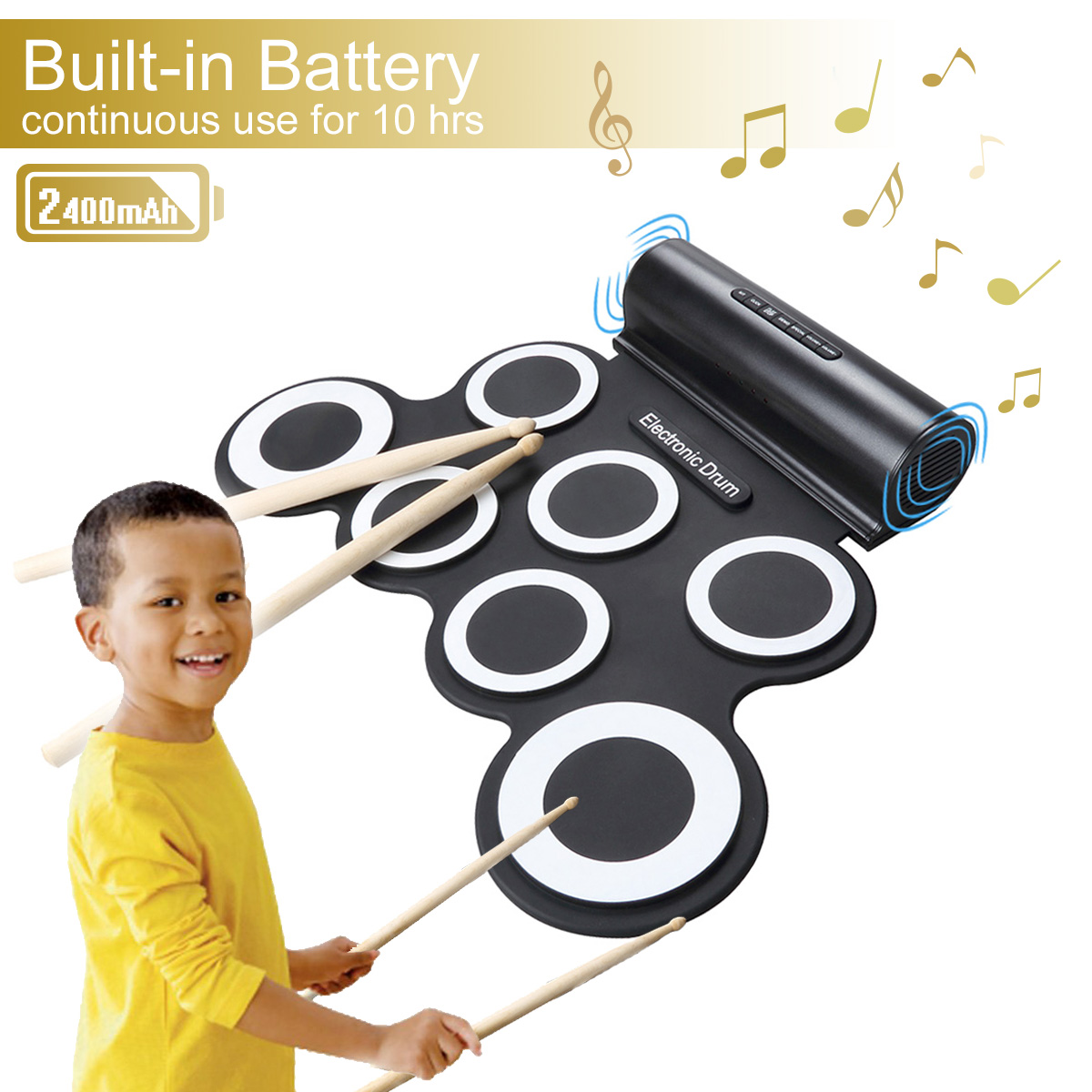 CoastaCloud Roll up Electronic Drum Portable Pad Kit with Speaker Entertainment Kids Gift... by CoastaCloud