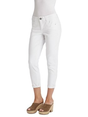 Democracy Womens Solid Roll Cuff Crop Jeans