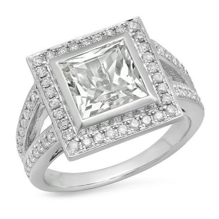 Dazzlingrock Collection 10K Princess White Sapphire & Round White Diamond Bridal Engagement Ring, White Gold, Size 9