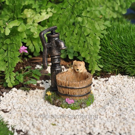 Marshall Home and Garden Puppy at the Hand Pump for Miniature Garden, Fairy Garden