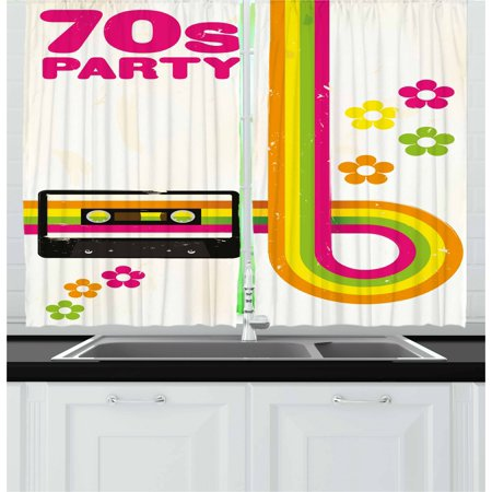 70s Party Curtains 2 Panels Set, Party Flyer Inspired Cute and Curved Stripes with Daisies Audio Cassette Tape, Window Drapes for Living Room Bedroom, 55W X 39L Inches, Multicolor, by Ambesonne
