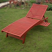 Pemberly Row Patio Chaise Lounge in Barn Red