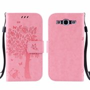 Galaxy S3 S III Case, Samsung Galaxy S3 Phone Cases, Allytech [Embossed Cat & Tree] PU Leather Wallet Case Folio Flip Kickstand Cover with Card Slots for Samsung Galaxy S3 III I9300, Pink