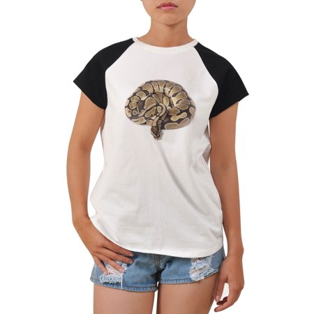 Giant Snake Printed 100% Cotton Short Sleeves Tee Raglan T- Shirt WTS_04 S