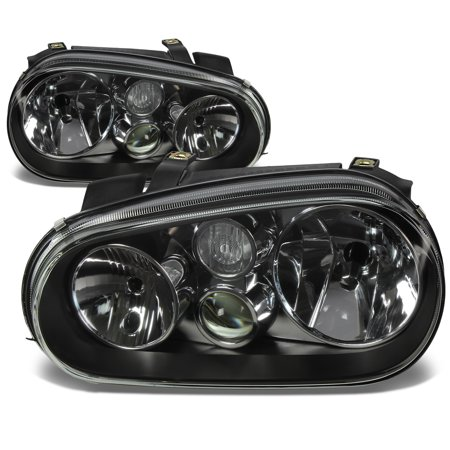 For 1999 to 2006 Volkswagen VW Golf / Cabrio MK4 Black Housing Headlight Headlamps 00 01 02 03 04 05 Left+Right