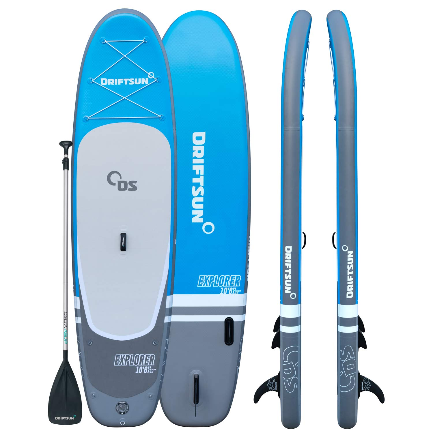 """Driftsun Explorer Ultimate Inflatable Paddleboard Package with Travel Backpack, Adjustable Paddle, Coil Leash - 10' Length 6"""""""