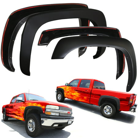 - OxGord Fender Flares for 99-06 Chevy Silverado, Avalanche, Suburban, GMC Sierra, Yukon XL - Set of 4 OE Style Paintable - Hardware Kit Included