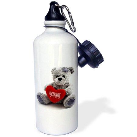 3dRose Gray Teddy Bear with Hugs on a Red Heart, Sports Water Bottle, 21oz (Teddy Bear With Heart)