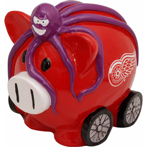 Forever Collectibles NHL Large Piggy Bank, Detroit Redwings