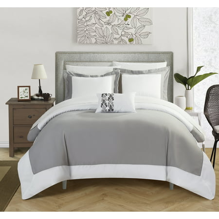Chic Home 4-Piece Uma MODERN TWO TONE REVERSIBLE HOTEL COLLECTION, with embellished borders and embroidery decor pillow Duvet Cover Set
