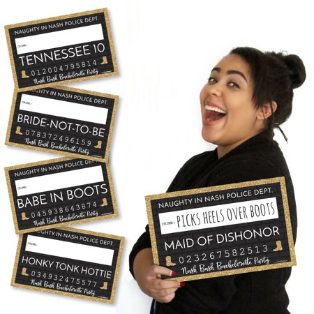 Nash Bash - Nashville Bachelorette Party Mug Shots - Photo Booth Props Mugshot Signs - 20 Count](Bachelorette Shop)