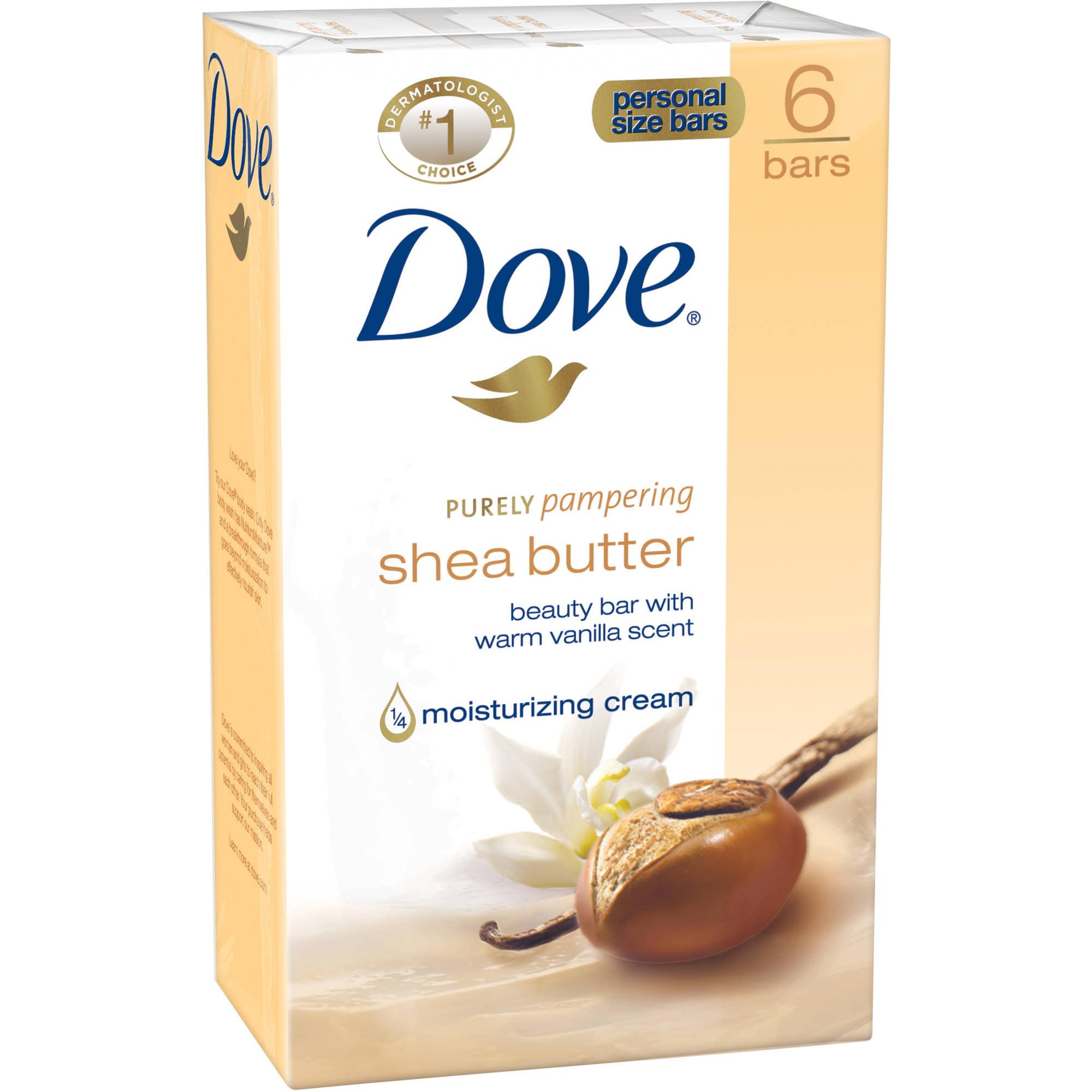Dove Shea Butter Beauty Bars Soap, 6 count - Walmart.com