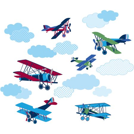 Wallpops Mighty Vintage Planes Decals