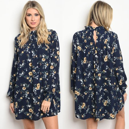 738c56567987 JED FASHION - JED FASHION Women's High Neck Floral Long Sleeve Tunic Dress  - Walmart.com