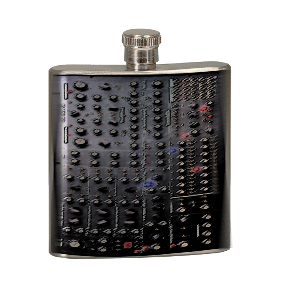 KuzmarK 6 oz. Stainless Steel Pocket Hip Liquor Flask - Analog Synthesizer