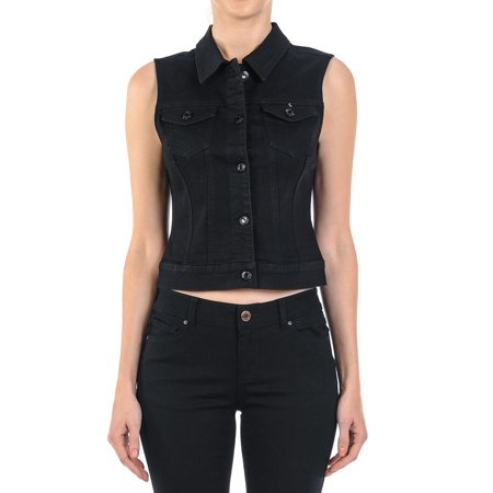 Women's Plus/Junior size Sleeveless Button Up Cropped Denim Vest Jacket ()