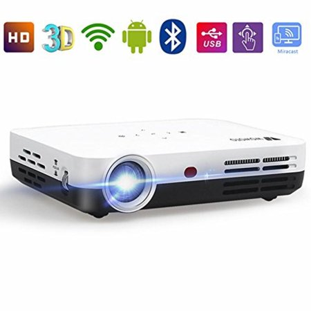 WOWOTO H8 Video Projector,3D DLP Projector 1280x800 Support 1080P Full HD ,  Android 4 4 OS , with Keystone, HDMI, WIFI & Bluetooth
