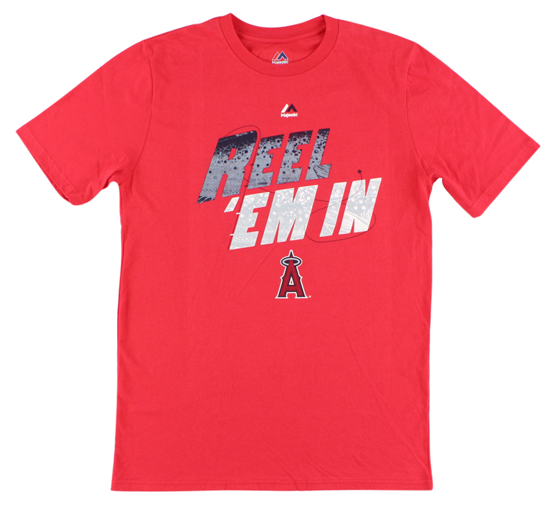 Majestic Boys Anaheim Angels MLB Trout Who's On Deck T Shirt Red