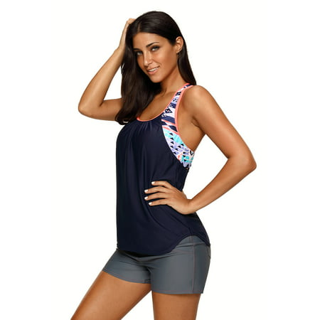 Womens V Neck Colorblock Printed Tankini Open Back Strappy Racerback Swim Top No Bottom