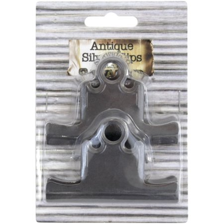 Antique Silver Bull Clips 75mm 2/Pkg-
