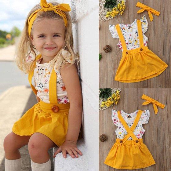 a3438a26cb5e 2018 Toddler Girls Baby Clothes Floral Tops+Belt Skirt Dress 3PCS Outfits  Set