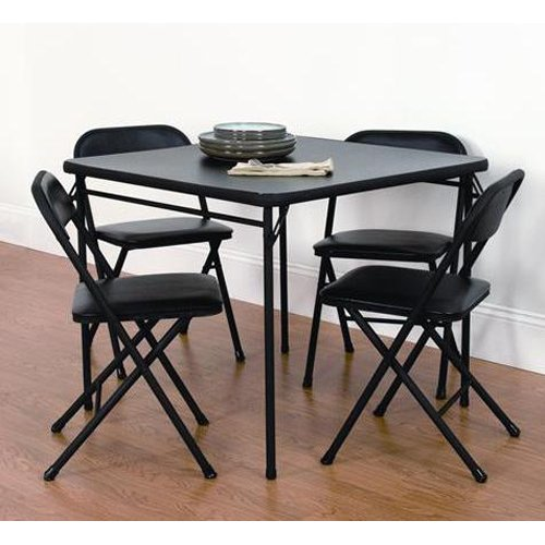 Mainstays 5 Piece Card Table and Chair Set Black & Mainstays 5 Piece Card Table and Chair Set Black - Walmart.com