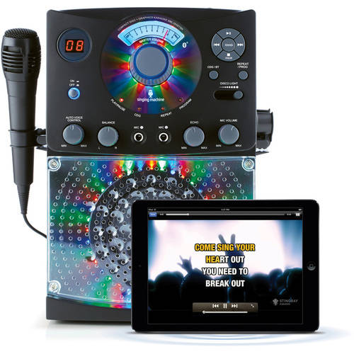 Singing Machine SML385BTBK Bluetooth Karaoke System with LED Disco Lights, CD+G, and Microphone