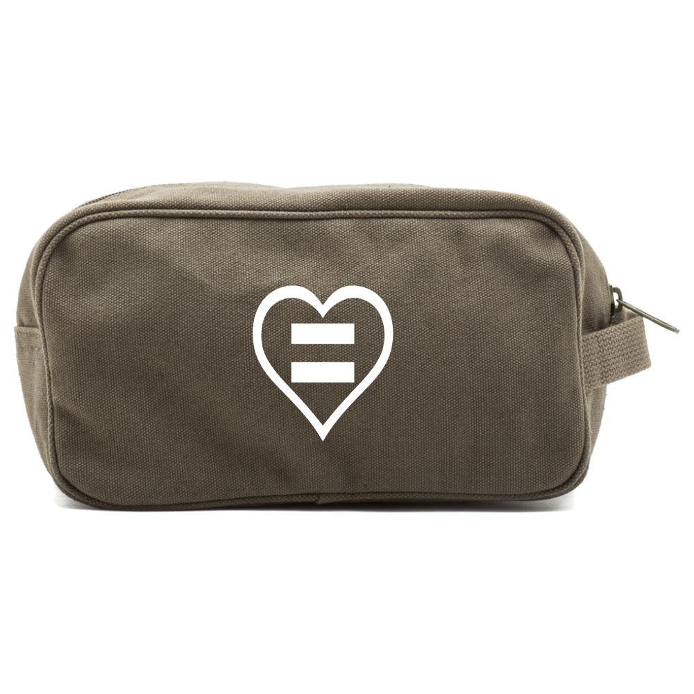 Human Rights Equal Sign Heart Canvas Shower Kit Travel Toiletry Bag Case