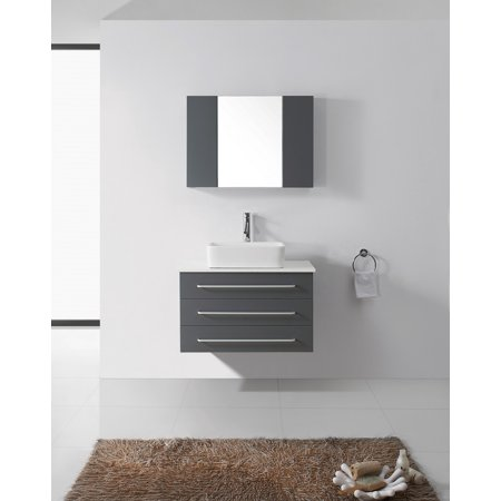 Virtu Usa Ivy 32 White Stone Single Bathroom Vanity Cabinet Set In Gray