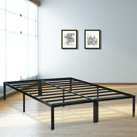Platform Bed Frame Full Metal Base Mattress Foundation 14 Inch Heavy Duty Steel Slat Replaces Box Spring,Black