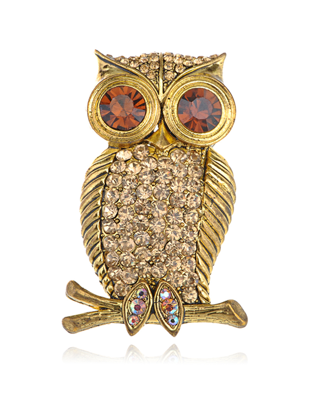 Gold Tone Smoked Topaz Crystal Rhinestone Eyed Hooting Tree Owl Bird Brooch Pin by