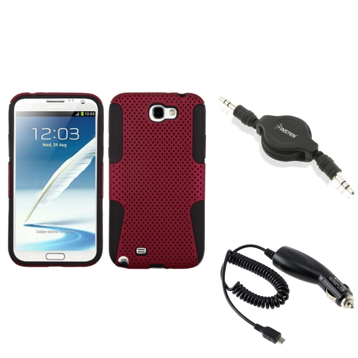 Insten Black/Red Hybrid Case+DC Car Charger+Audio Cable For Samsung Galaxy Note 2 II