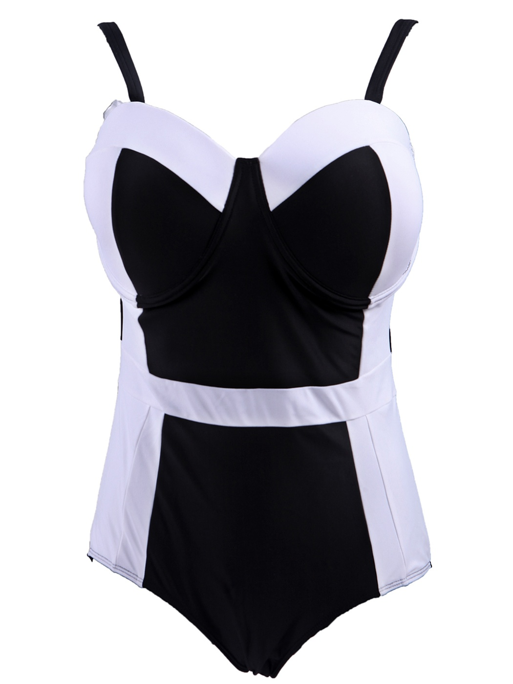 Women's Retro One Piece Swimsuit Plus Size Padded Halter Vintage Swimsuit (Black-White Monokini, XX-Large)