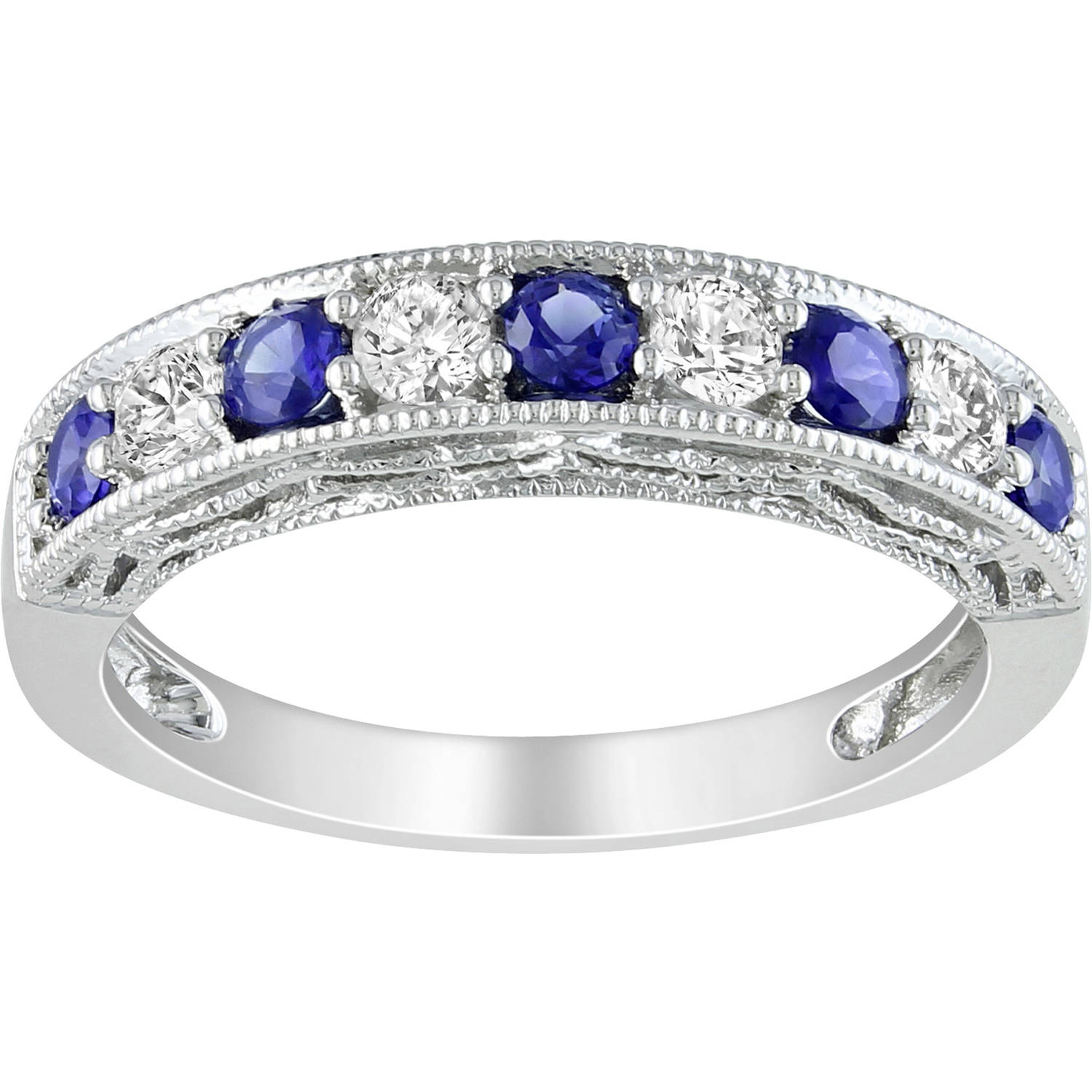 Tangelo 7/8 Carat T.G.W. Created Blue and White Sapphire Sterling Silver Semi-Eternity Anniversary Ring
