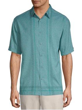 Café Luna Men's Short Sleeve L Shape Panel Woven Shirt