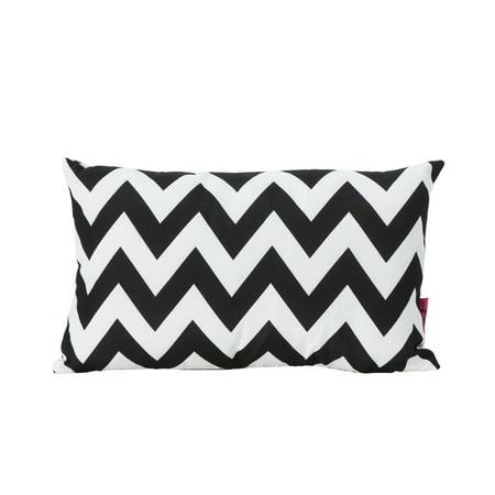 Embry Outdoor Water Resistant Rectangular Throw Pillow, Black and White Chevron - Black And White Chevron