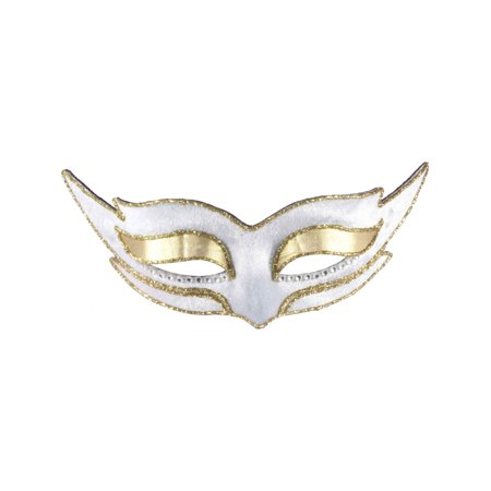 Adult or Childs White Gold Masquerade Ball Venetian Carnival Cat Eye Mask