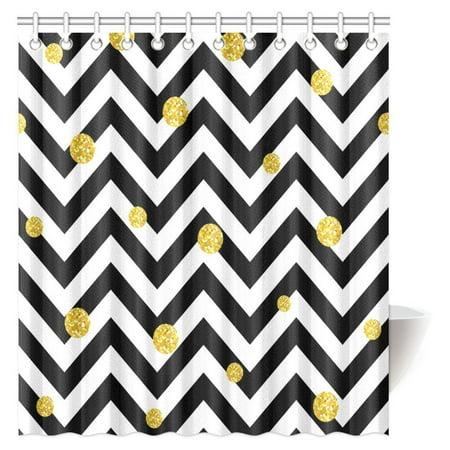 MYPOP Chevron Decor Shower Curtain, Zig Zag Symmetric Pattern with Gold Polka Dots Rounds Modern Minimalist Design Fabric Bathroom Shower Curtain 66 X 72