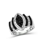 JewelersClub 1.00 CTW Round & Baguette cut Black & White Diamond Marquise Shape Sterling Silver Ring