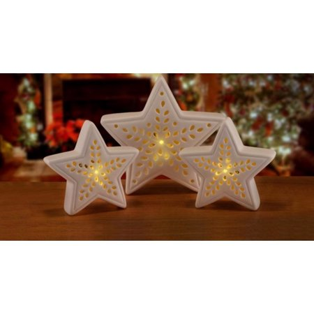 Christmas Table Decoration (set of 3 pre-lit battery operated warm clear led white star christmas table top)