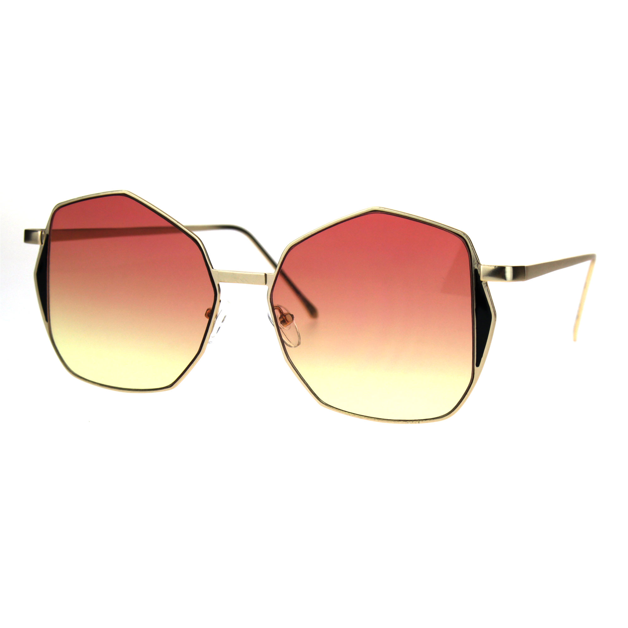 SA106 Womens Luxury Designer Octagon Metal Butterfly Sunglasses