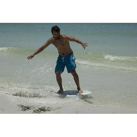 Laminated Poster Surf Summer Beach Ocean Wave Surfing Skim Board Poster Print 11 x