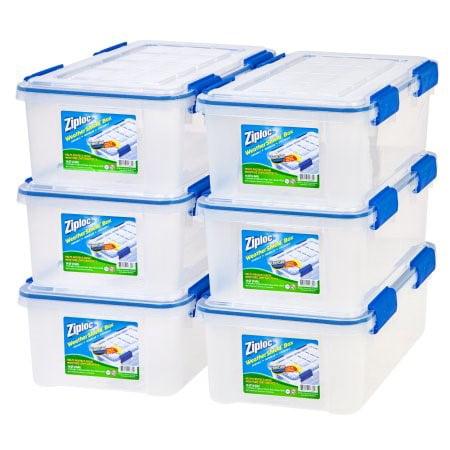 Ziploc 16 Qt  4 Gal  Weathershield Storage Box  6 Pack  Clear