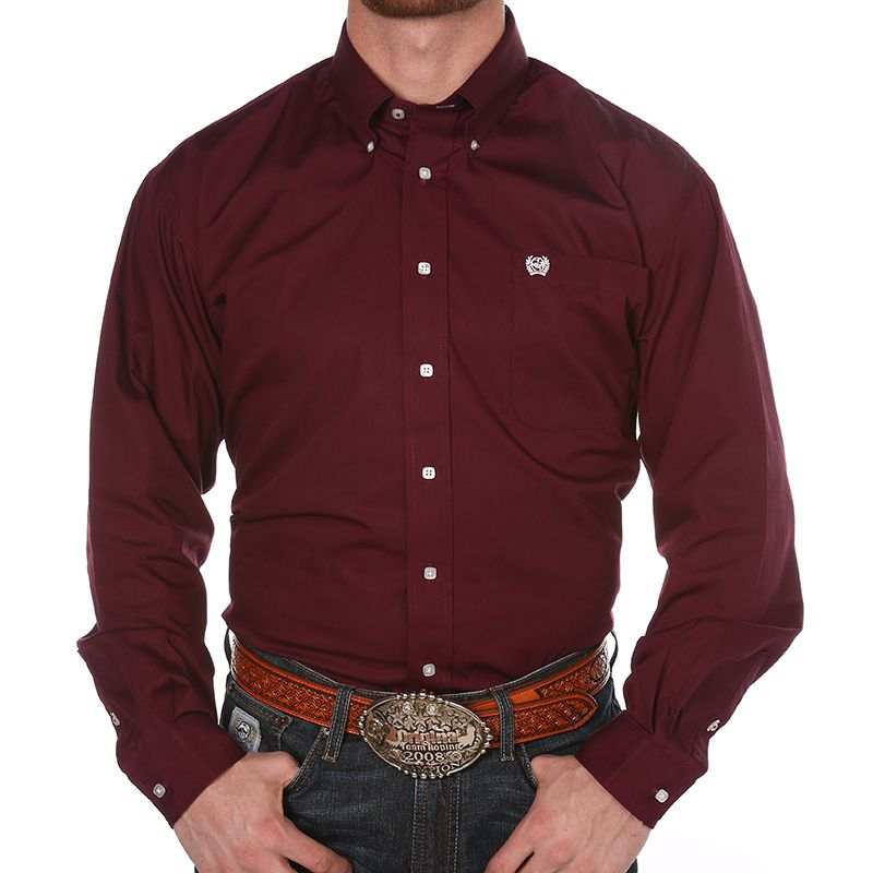 Cinch Apparel Mens  Burgundy Pinpoint Oxford Long Sleeve ...