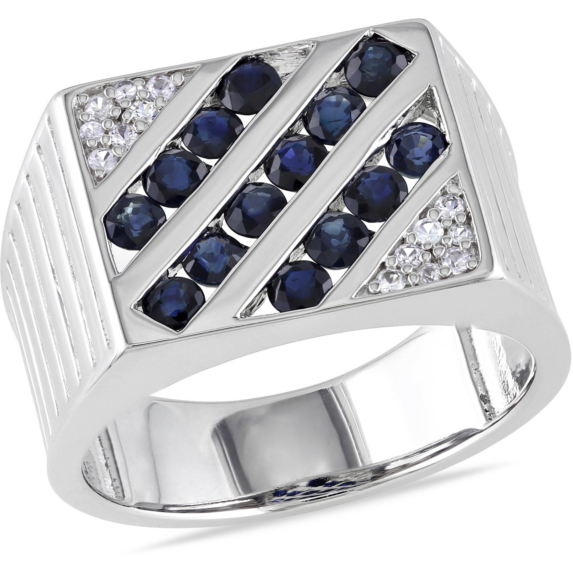 Tangelo Men's 2 Carat T.G.W. Blue and White Sapphire Sterling Silver Fashion Ring