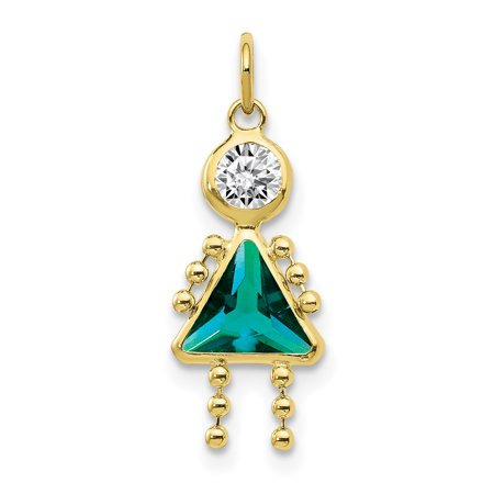 10k Yellow Gold December Girl Birthstone Pendant Charm Necklace Kid Gifts For Women For Her (Girl Birthstone Kid Charm)
