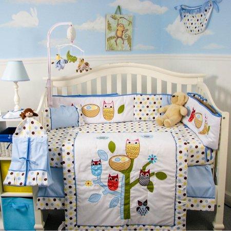 SoHo Baby Crib Nursery Bedding 9 Piece Set with Free Baby Carrier, Blue Owl ()